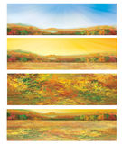 Vector autumnal banners. Background is my creative handdrawing and you can use it for season, nature, banners design and etc, made in vector, Adobe Illustrator Royalty Free Stock Photo