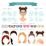 Vector avatar constructor. 7 hairstyles, 6 sunglasses, 12 beauty icons. For your design for your design stock illustration