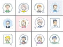 Vector avatars. Icon set of different faces. Chat bubbles with avatars symbol. Vector icon of chat communication symbol. Vector illustration of call center Stock Image