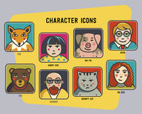 Vector avatars set. funny colorful characters. men, women and funny animals. Pig, cat, bear and fox. Stock Photo