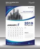 Vector 2019, aviador de la plantilla del calendario de escritorio de ENERO stock de ilustración