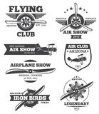 Vector aviation badges, avia club emblems, airplane logos set Stock Photography