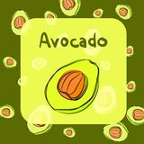 Vector avocado sketch background for recipe Royalty Free Stock Photos