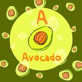Vector avocado sketch background for recipe Stock Photo