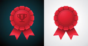 Vector award badge with ribbon Stock Photo