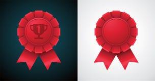 Vector award badge with ribbon Stock Photo