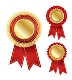Vector award badge with ribbon Royalty Free Stock Image