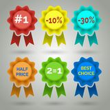 Vector Award Badge with Ribbon Icons Royalty Free Stock Images