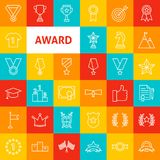 Vector Award Line Icons. Thin Outline Winning Symbols over Colorful Squares Stock Images