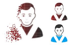 Fragmented Pixel Halftone Awarded Man Icon. Vector awarded man icon in fractured, pixelated halftone and undamaged solid variants. Disappearing effect uses royalty free illustration