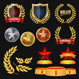 Vector Awards And Trophies Collection. Golden Badges And Labels. Championship Design. 1st, 2nd, 3rd Place. Golden. Silver, Bronze Achievement Badge stock illustration