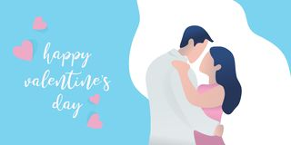 Vector awesome valentine's day banner greeting design with cute couple character vector illustration. Awesome Vector awesome valentine's day banner royalty free illustration