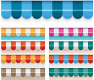 Vector awnings. Set of the detailed awnings in different colors Royalty Free Stock Images
