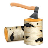 Vector Ax with Birch Firewood Stock Image
