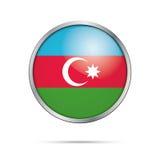 Vector Azerbaijanian flag Button. Azerbaijan flag in glass butto Stock Photos