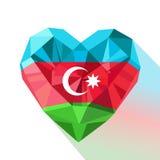 Vector Azerbaijans heart with the flag of  the Republic of Azerbaijan. Stock Photo