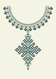 Vector Azteeks halsbandborduurwerk voor maniervrouwen Pixel stammenpatroon voor druk of Webontwerp Juwelen, halsband Royalty-vrije Stock Foto's