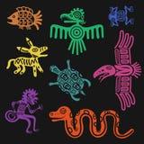 Vector aztekischen Symbole oder die Inkamusterkulturzeichen, die auf schwarzem Hintergrund lokalisiert werden lizenzfreie abbildung