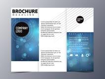 Vector azul abstracto de la plantilla del diseño del folleto triple Imagenes de archivo