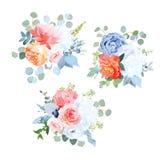 Vector azul, anaranjado, blanco, coralino, rosado polvoriento de las flores que se casa ramos stock de ilustración
