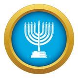 Vector azul del icono de Menorah aislado stock de ilustración