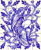 Vector azul del recuerdo del imán de la baldosa cerámica de Azulejo de la hada del roble ilustración del vector