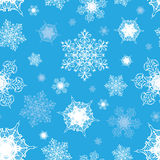 Vector Azure Blue White Ornate Snowflakes Seamless Stock Images