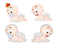 Vector Babies. Beautiful Lovely Design Art of Vector Babies Poses Royalty Free Stock Photos