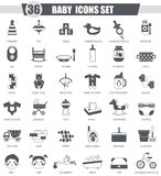 Vector Baby black icon set. Dark grey classic icon design for web. Royalty Free Stock Images