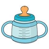 Vector of baby bottle. Hand drawn cartoon, doodle illustration royalty free illustration