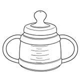 Vector of baby bottle. Hand drawn cartoon, doodle illustration vector illustration