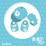 Vector baby boy arrival scrapbook card Stock Photos