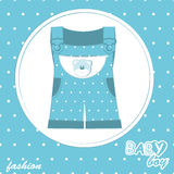 Vector baby boy arrival scrapbook card Royalty Free Stock Images