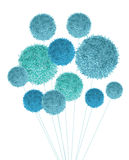 Vector Baby Boy Blue Pom Poms Bouquet Decorative Element. Great for nursery room, handmade cards, invitations, baby royalty free illustration