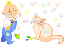 Vector Baby boy and a cat drawing. Little baby boy and a cat drawing, colorful cat tracks everywhere, and children's hands and feet Stock Images