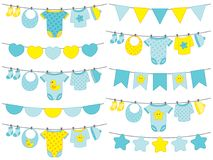 Vector Baby Boy Clothes Hanging on Line. Vector bunting. Vector baby boy shower. Baby boy clothes vector illustration Stock Photos