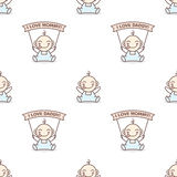 Vector baby boy with love Mommy and Daddy posters Royalty Free Stock Photography