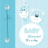 Vector baby boy scrapbook card Stock Images