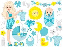 Vector Set for Baby Boy Shower royalty free illustration