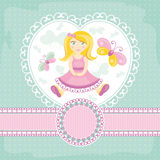 Vector baby card with girl Royalty Free Stock Image