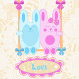 Vector baby card. love. bunnies on a swing Stock Photography