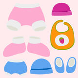 Vector baby clothes icon set design textile casual fabric colorful dress child garment wear illustration. Royalty Free Stock Photos