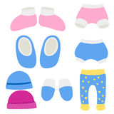 Vector baby clothes icon set design textile casual fabric colorful dress child garment wear illustration. Stock Photos