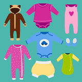 Vector baby clothes icon set design textile casual fabric colorful dress child garment wear illustration. Royalty Free Stock Images