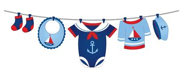 Vector Baby Clothes in Nautical Style. Hanging on the line. Vector baby clothes. Vector baby clothing. Baby clothes vector illustration Stock Photography