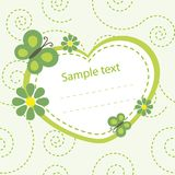 Baby color card with butterflies and flowers Royalty Free Stock Images