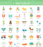 Vector Baby color flat icon set. Elegant style design Stock Photo