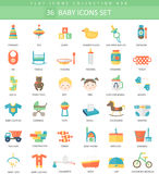 Vector Baby color flat icon set. Elegant style design. Royalty Free Stock Photography