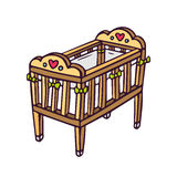 Vector baby crib  on white Royalty Free Stock Image