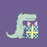 Vector baby croc. Cartoon illustration Royalty Free Stock Photos